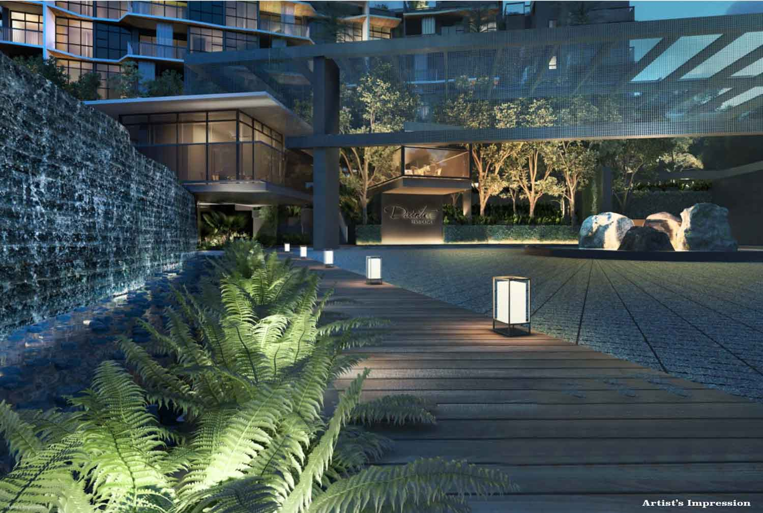 Valley Boulevard, Lantern Arrival and Water Terrace inspired landscaping in Daintree Residence Condo
