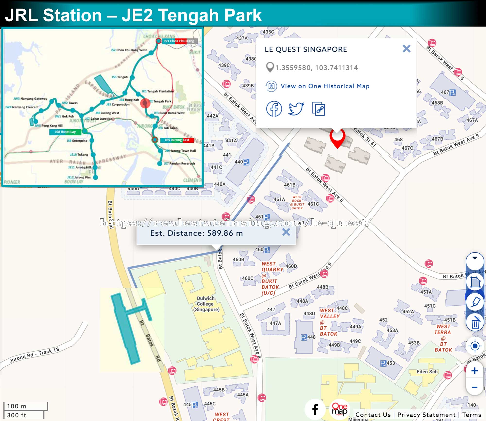 Le Quest approximately 600m to future Tengah Park MRT on Jurong Region Line
